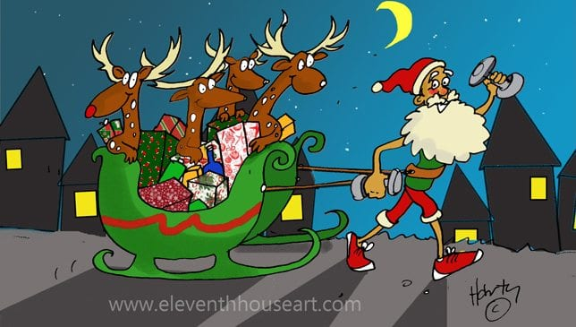 Healthy Habits for Christmas with a new Santa looking healthy
